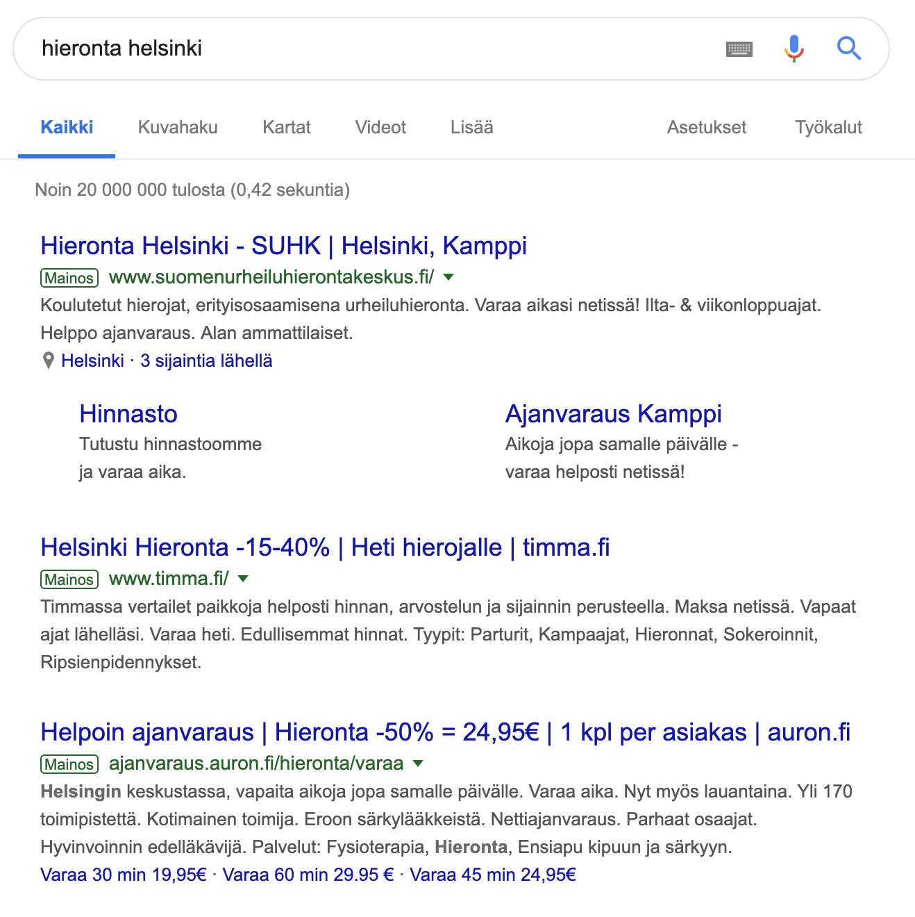 Yrityksen perustaminen: kuvakaappaus Googlen hakutulossivusta.